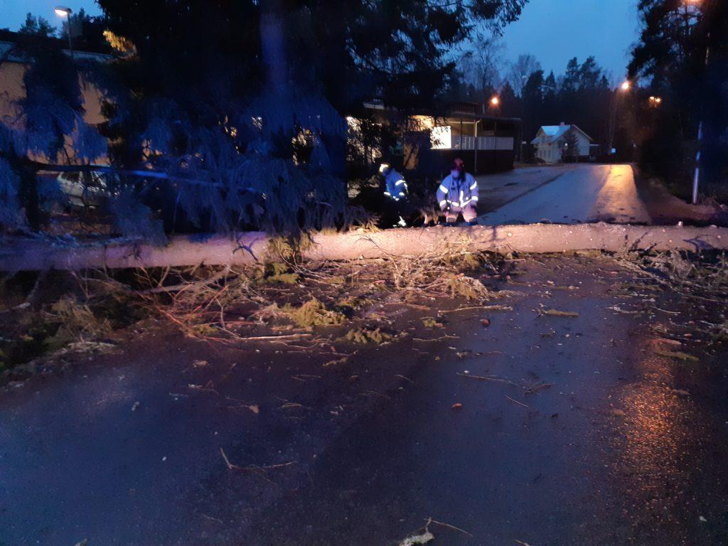 Palomiehet raivaavat tielle kaatunutta puuta