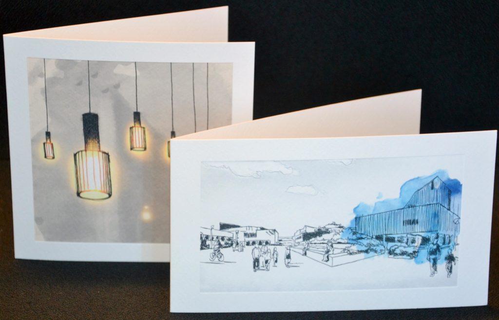 Kaksi piirrettyä Aalto-aiheista onnittelukorttia.