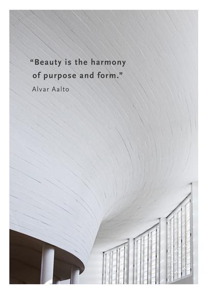 Postikortti, jossa Aallon kirjaston kaareva katto.