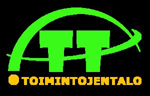 Toimintojentalo logo. Kaksi isoa T kirjainta ja keltaisella lukee toimintojentalo