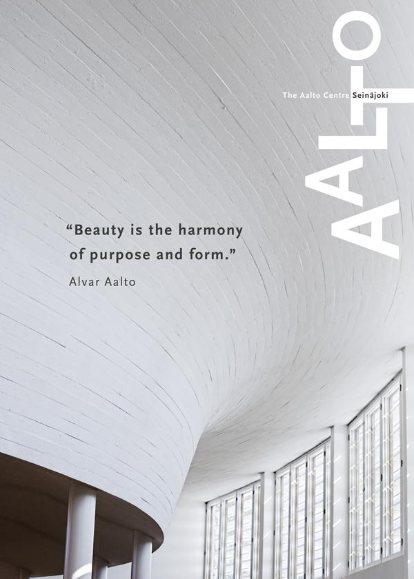 Juliste, jossa Aallon suunnittelema kirjaston kaareva valkoinen betonikatto ja yläikkunat kuvattuina kirjaston sisällä.