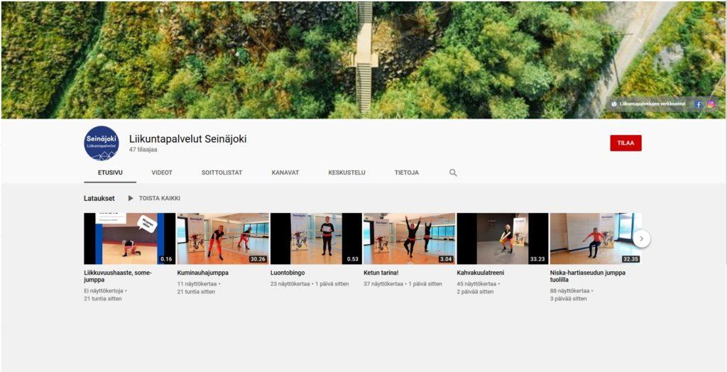 Kuvassa liikuntapalveluiden YouTube etusivu