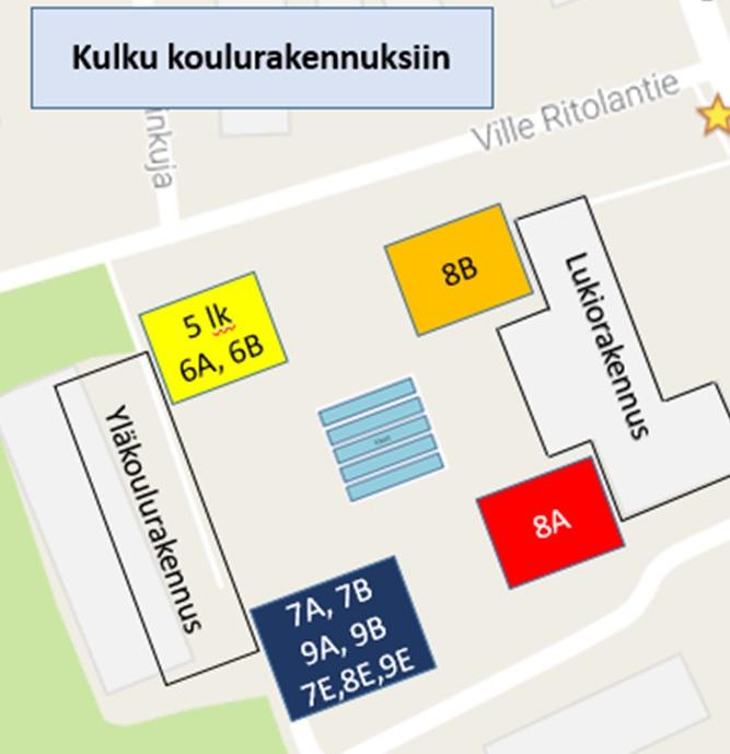 Toivolanrannan yhtenäiskoulu Kulku koulurakennuksiin yk