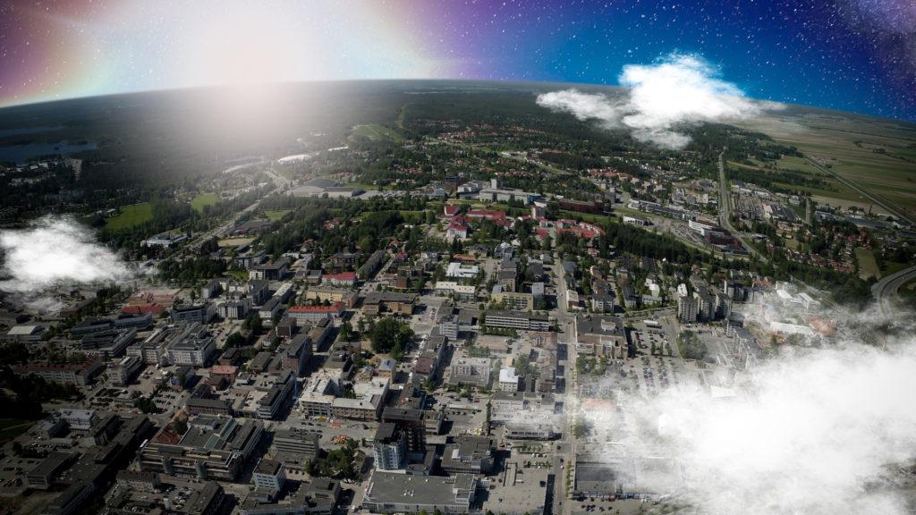 ilmakuva Seinäjoen kaupungista kaareva horisontti taustalla.