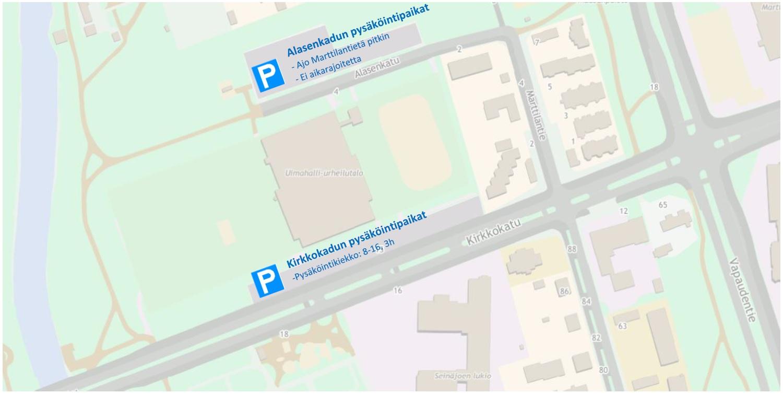 Kuvassa kartta Uimahalli-Urheilutalon ympäriltä johon merkitty Alasenkadun ja Kirkkokadun parkkipaikat