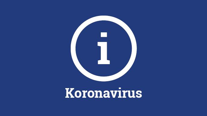Sinisellä pohjalla valkoinen Koronavirus-teksti ja i-kirjain ympyrän sisällä.