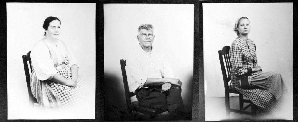 Kuvakollaasi jossa, kolmen henkilön mustavalkoiset vanhan ajan valokuvat