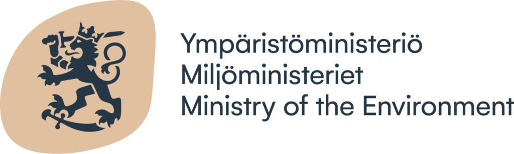 """Suomileijoina ruskealla pohjalla. Teksti """"Ympäristöministeriö""""."""