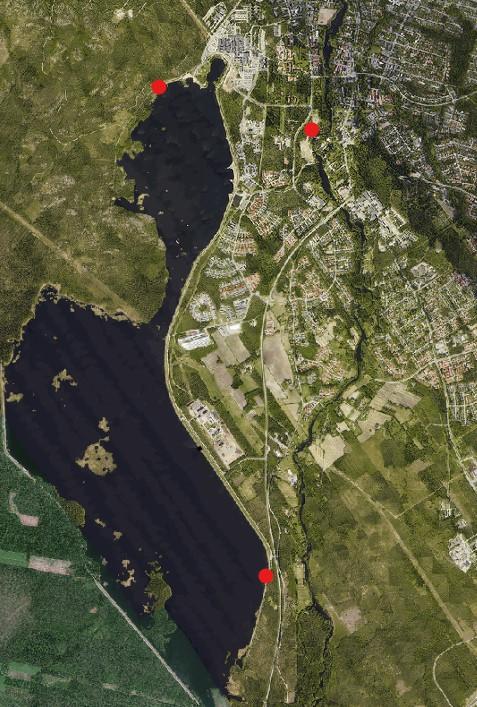 Kuvassa kartta Kyrkösjärvi Törnävä alueesta, johon on merkitty 3 koirien uimapaikkaa: Kyrkösvuorentien veneenlaskupaikka, Jalasjärventien varressa voimalaitoksen jälkeen ja Törnävän Brykärin puisto.